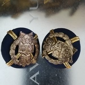Mid Century Clip On Earrings Navy & Gold